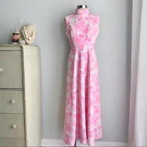 1960s Flower Power Vintage Sleeveless Maxi Dress